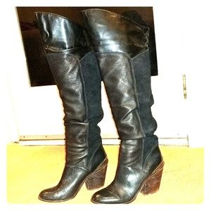 Lucky Brand knee high black leather and suade boot